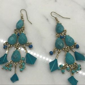 Jewelry - Fun and flirty faux turquoise and bead earrings.